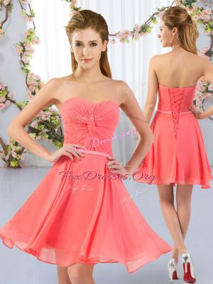 Most Popular Ruching Quinceanera Court Dresses Watermelon Red Lace Up Sleeveless Mini Length