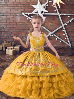 Satin and Organza Straps Sleeveless Lace Up Embroidery and Ruffled Layers Kids Formal Wear in Gold