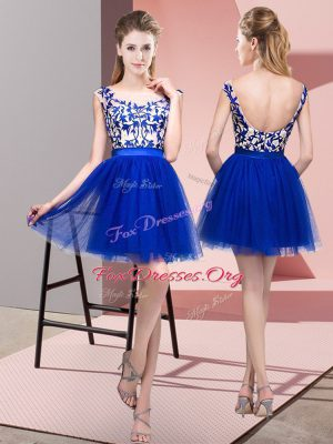 Exceptional Royal Blue Wedding Party Dress Wedding Party with Lace Bateau Sleeveless Zipper