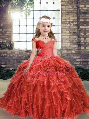 Red Lace Up Kids Formal Wear Beading and Ruffles Sleeveless Floor Length