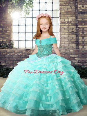Apple Green Straps Lace Up Ruffled Layers Little Girls Pageant Dress Brush Train Sleeveless