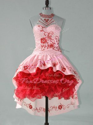 Romantic Sleeveless High Low Embroidery and Ruffles Lace Up Prom Dress with Red