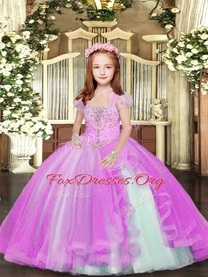 Modern Lilac Straps Lace Up Beading Girls Pageant Dresses Sleeveless