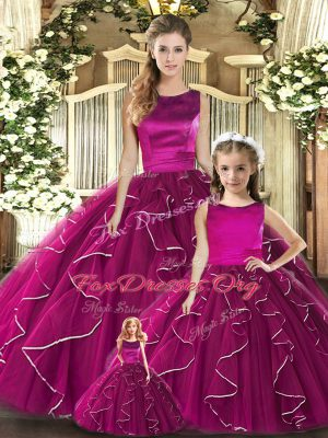 Dramatic Fuchsia Scoop Lace Up Ruffles Sweet 16 Dresses Sleeveless