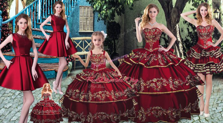 Best Selling Wine Red Sweetheart Lace Up Embroidery and Ruffled Layers Ball Gown Prom Dress Sleeveless
