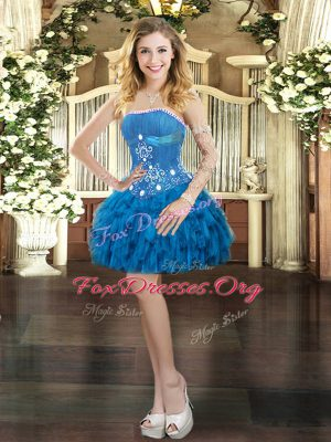 Mini Length Ball Gowns Sleeveless Blue Lace Up