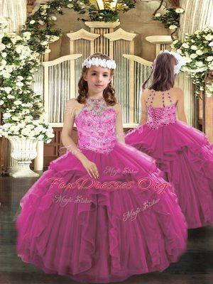 Popular Ball Gowns Girls Pageant Dresses Fuchsia Halter Top Tulle Sleeveless Floor Length Lace Up