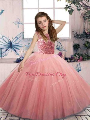 Ball Gowns Winning Pageant Gowns Watermelon Red Scoop Tulle Sleeveless Floor Length Lace Up