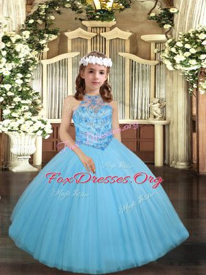 Aqua Blue Sleeveless Beading Floor Length Little Girl Pageant Gowns