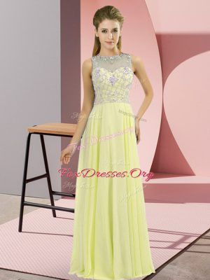 Yellow High-neck Zipper Beading Prom Party Dress Sleeveless