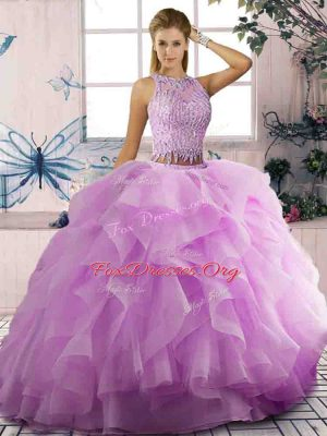 Fashion Lilac Sleeveless Tulle Lace Up Quince Ball Gowns for Sweet 16 and Quinceanera