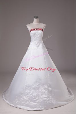 Classical Strapless Sleeveless Satin Wedding Dresses Beading and Embroidery Brush Train Lace Up