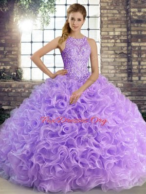 Fabric With Rolling Flowers Scoop Sleeveless Lace Up Beading Sweet 16 Quinceanera Dress in Lavender