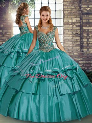 Floor Length Teal Quince Ball Gowns Straps Sleeveless Lace Up