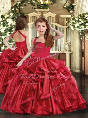 Floor Length Lace Up Girls Pageant Dresses Red for Party and Sweet 16 and Wedding Party with Ruffles