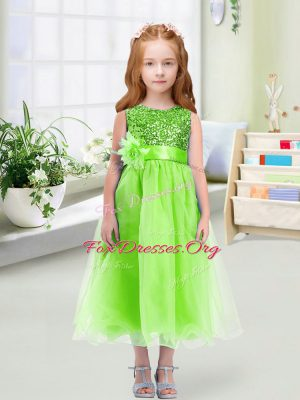 Sleeveless Zipper Tea Length Sequins and Hand Made Flower Flower Girl Dresses for Less