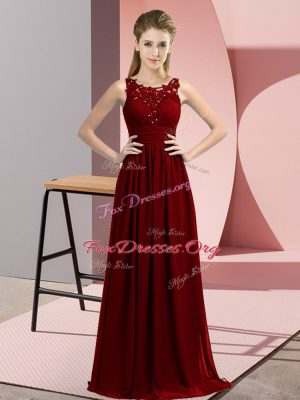 Adorable Empire Dama Dress for Quinceanera Burgundy Scoop Chiffon Sleeveless Floor Length Zipper