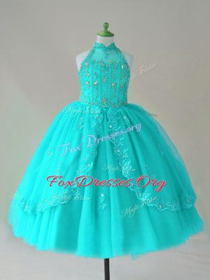 Beauteous Floor Length Aqua Blue Little Girls Pageant Gowns Tulle Sleeveless Beading and Appliques