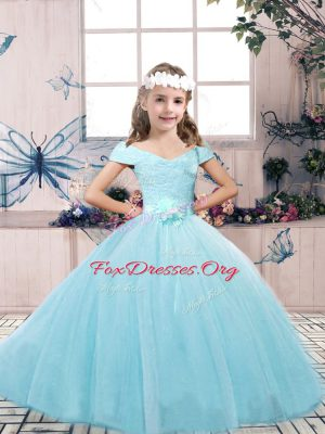 Affordable Aqua Blue Off The Shoulder Lace Up Lace and Belt Little Girls Pageant Dress Sleeveless