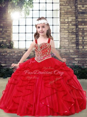 Charming Floor Length Ball Gowns Sleeveless Red Little Girl Pageant Gowns Lace Up
