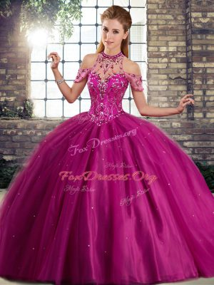 Most Popular Fuchsia Lace Up Vestidos de Quinceanera Beading Sleeveless Brush Train