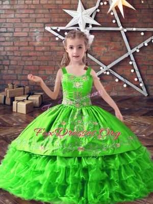 Satin and Organza Lace Up Pageant Gowns For Girls Sleeveless Floor Length Embroidery and Ruffled Layers