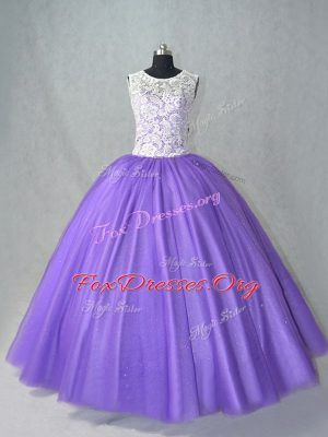 Elegant Lavender Tulle Lace Up Sweet 16 Dress Sleeveless Floor Length Lace