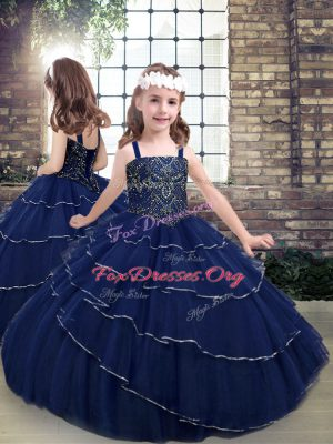 Navy Blue Ball Gowns Tulle Straps Sleeveless Beading Floor Length Lace Up Kids Formal Wear