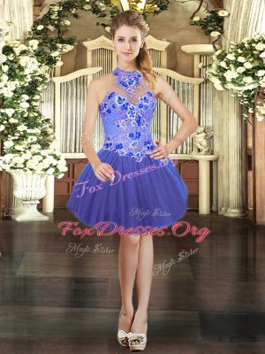 Halter Top Sleeveless Cocktail Dresses Mini Length Embroidery Blue Tulle