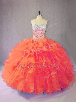 Popular Orange Ball Gowns Sweetheart Sleeveless Organza Floor Length Lace Up Beading and Ruffles Quince Ball Gowns