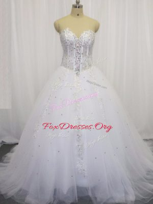 Custom Designed White Tulle Lace Up Wedding Gown Sleeveless Court Train Beading and Appliques