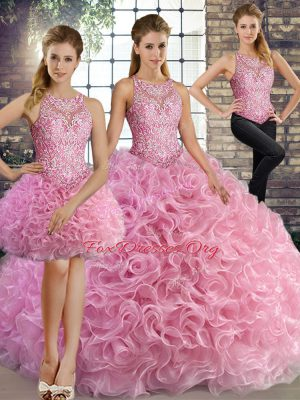 Dynamic Rose Pink Three Pieces Fabric With Rolling Flowers Scoop Sleeveless Beading Floor Length Lace Up Quinceanera Gown