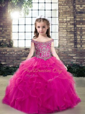 Fuchsia Sleeveless Tulle Lace Up Child Pageant Dress for Party and Wedding Party
