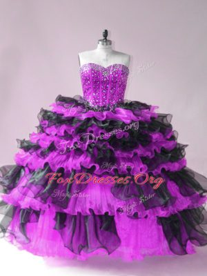 Black And Purple Vestidos de Quinceanera Sweet 16 and Quinceanera with Beading and Ruffled Layers Sweetheart Sleeveless Lace Up