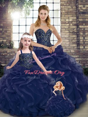 Exquisite Navy Blue Ball Gowns Beading and Ruffles Quince Ball Gowns Lace Up Tulle Sleeveless Floor Length
