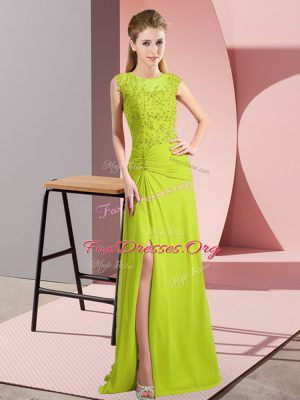 Glamorous Beading Evening Gowns Yellow Green Zipper Sleeveless Floor Length
