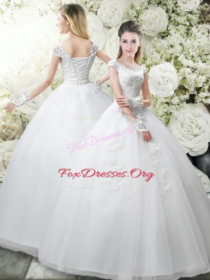 White Ball Gowns Appliques Wedding Dresses Lace Up Tulle Cap Sleeves Floor Length