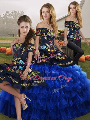 Fine Blue And Black Sleeveless Embroidery and Ruffled Layers Floor Length Quinceanera Dress