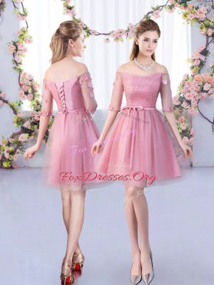 Attractive Mini Length A-line Half Sleeves Pink Damas Dress Lace Up