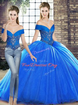 Sleeveless Beading Lace Up Quinceanera Gown with Royal Blue Brush Train