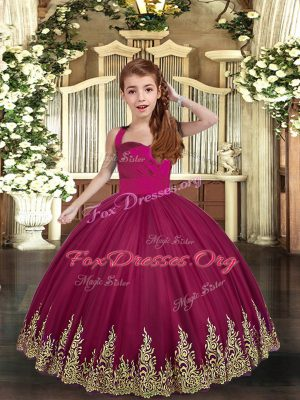 Fancy Burgundy Lace Up Pageant Dress Womens Embroidery Sleeveless Floor Length