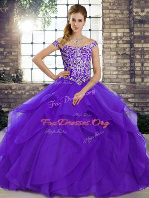 Sleeveless Tulle Brush Train Lace Up Quince Ball Gowns in Purple with Beading and Ruffles