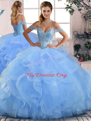 Blue Tulle Lace Up Off The Shoulder Sleeveless Floor Length Sweet 16 Quinceanera Dress Beading and Ruffles