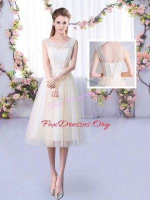 Eye-catching Scoop Sleeveless Tulle Bridesmaid Gown Lace Lace Up