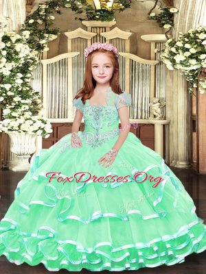 Customized Apple Green Straps Lace Up Beading and Ruffled Layers Kids Formal Wear Sleeveless