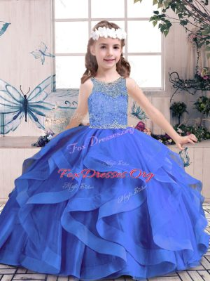 Adorable Blue Lace Up Little Girl Pageant Gowns Beading and Ruffles Sleeveless Floor Length