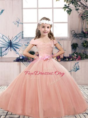 Sleeveless Lace and Belt Lace Up Girls Pageant Dresses