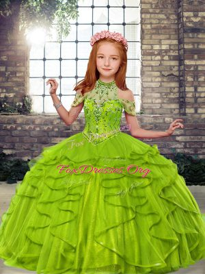Ball Gowns Kids Formal Wear High-neck Tulle Sleeveless Floor Length Lace Up