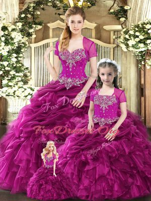 Charming Fuchsia Lace Up Quinceanera Dress Beading and Ruffles and Pick Ups Sleeveless Floor Length
