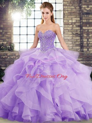 Modern Lavender Ball Gowns Beading and Ruffles 15th Birthday Dress Lace Up Tulle Sleeveless